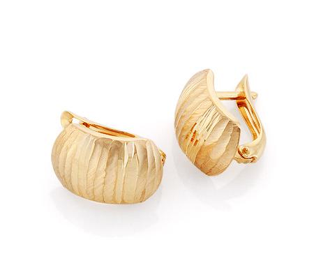 Фото«GZ-6574»Золотые серьги без камней «Арбузы» с алмазной гранью