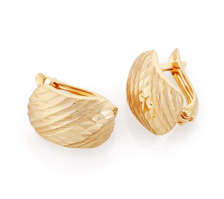 Фото«GZ-6577»Золотые серьги с фигурной алмазной гранью без камней