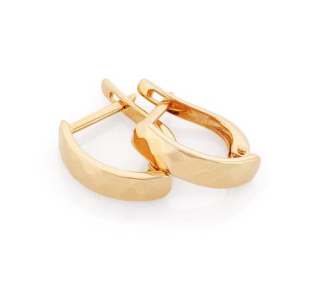 Фото«GZ-6583»Золотые серьги без камней с алмазкой «Ромб»