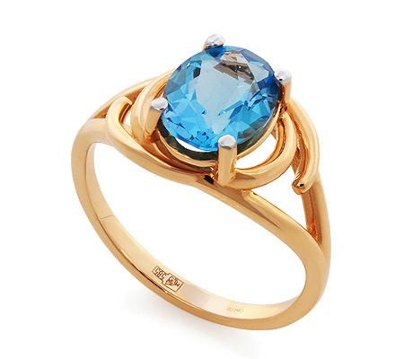 Фото«GZ-6600»Золотое кольцо с голубым топазом и фианитами