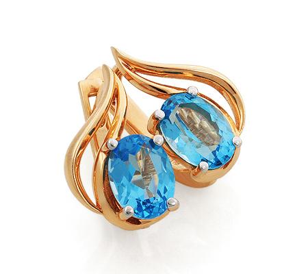 Фото«GZ-6619»Красивые золотые серьги с голубым топазом