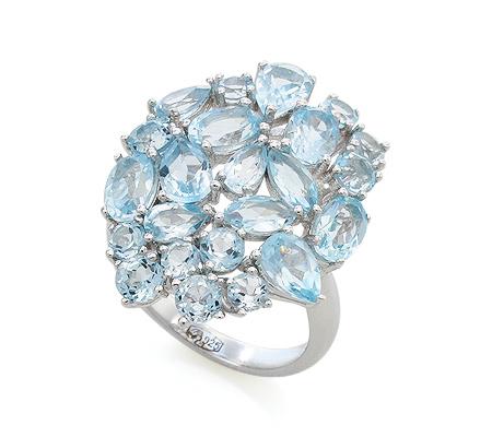 Фото«VG-7765»Серебряное кольцо с голубыми топазами