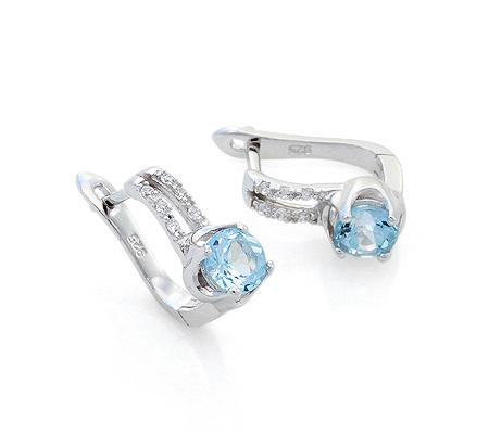 Фото«VG-7796»Серебряные серьги с голубым топазом и фианитами