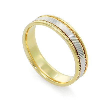 Фото«RG-V1010-TS-BK»Обручальное кольцо из желтого и белого золота
