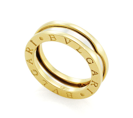 Фото«GZ-8236»Кольцо Булгари из желтого и белого золота 5.5 мм копия