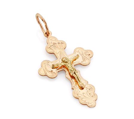 Фото«VL-4773»Красивый крестик из красного и желтого золота