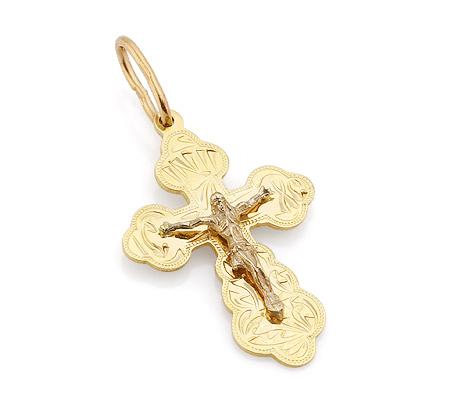 Фото«VL-4790»Крест из желтого золота для женщины ручной работы