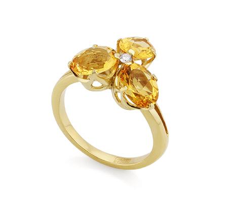 Фото«VL-4803»Кольцо с цитринами и бриллиантом из золота