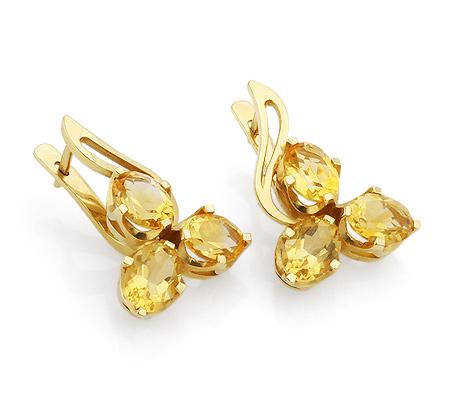 Фото«VL-4804»Серьги с цитринами из желтого золота