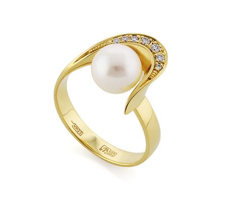 Фото«VL-5321»Кольцо с жемчугом и бриллиантами желтое золото