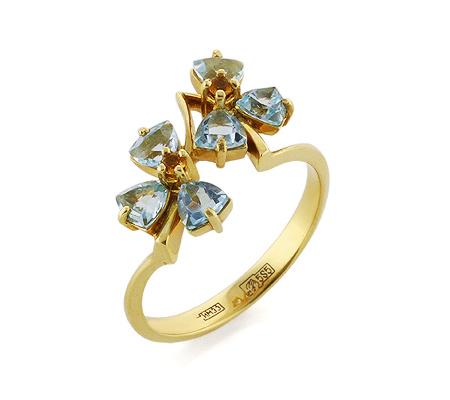 Фото«VL-5330»Золотое кольцо с голубыми топазами и цитринами