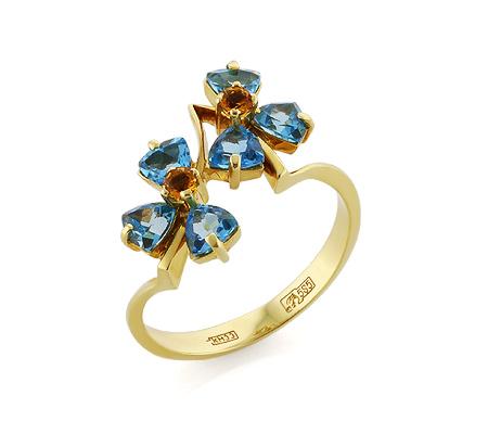 Фото«VL-5333»Золотое кольцо с синими топазами и цитринами