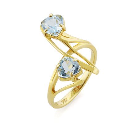 Фото«VL-5339»Кольцо с голубыми топазами желтое золото