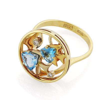 Фото«VL-5342»Перстень «Рыбки» с топазами и бриллиантами золото