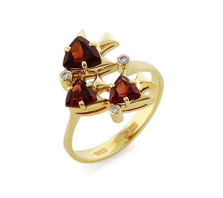 Фото«VL-5349»Золотое кольцо «Рыбки» с гранатами и бриллиантами