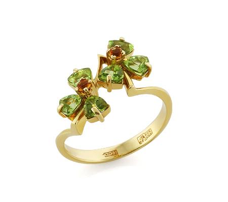 Фото«VL-5353»Золотое кольцо с хризолитом и цитринами