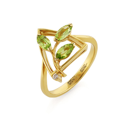 Фото«VL-5358»Золотое кольцо с хризолитом и бриллиантом