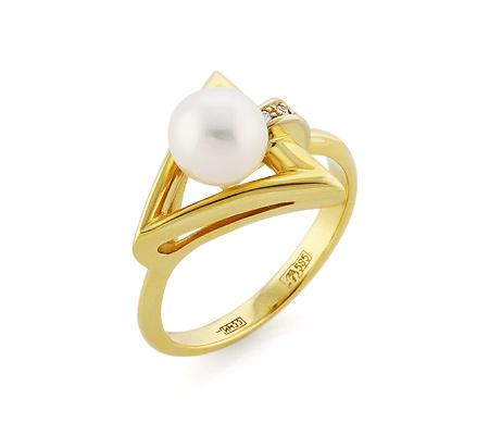 Фото«VL-5370»Эксклюзивное кольцо с жемчугом и бриллиантами золотое