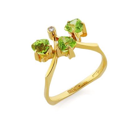 Фото«VL-5374»Золотое кольцо с хризолитом и бриллиантом