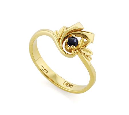 Фото«VL-5376»Кольцо из желтого золота с природным сапфиром
