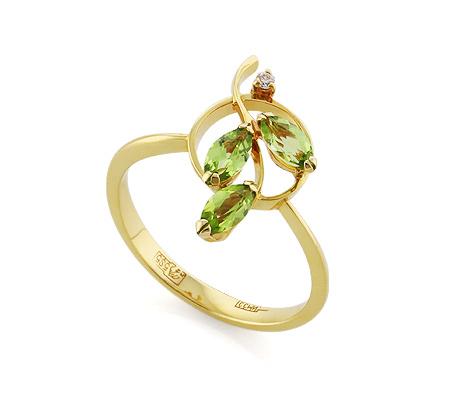 Фото«VL-5379»Золотое кольцо с хризолитами и бриллиантом