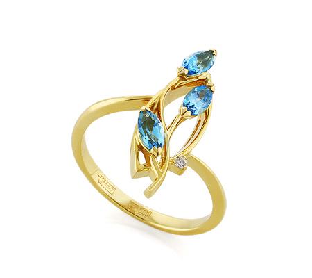 Фото«VL-5384»Золотое кольцо с голубыми топазами и бриллиантом