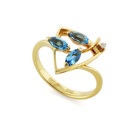 Фото«VL-5388»Золотое кольцо с топазами и бриллиантом