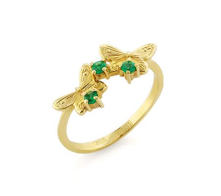 Фото«VL-5392»Золотое кольцо «Бабочки» с изумрудами