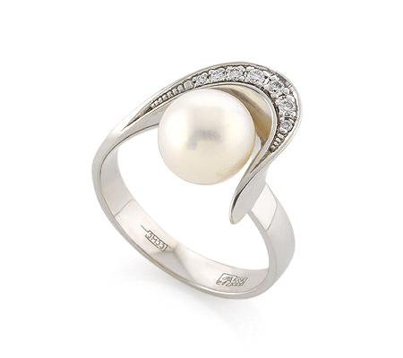 Фото«VL-5396»Кольцо из белого золота с жемчугом и бриллиантами
