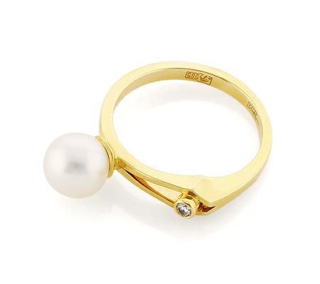 Фото«VL-5402»Кольцо с белым жемчугом и бриллиантом желтое золото