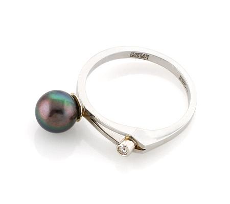 Фото«VL-5404»Кольцо с черным жемчугом и бриллиантом белое золото
