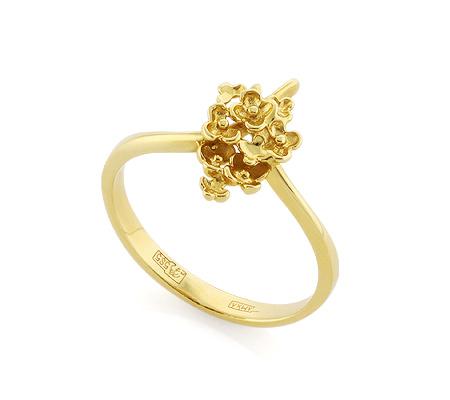 Фото«VL-5406»Золотое кольцо «Букет счастья» без камней и вставок