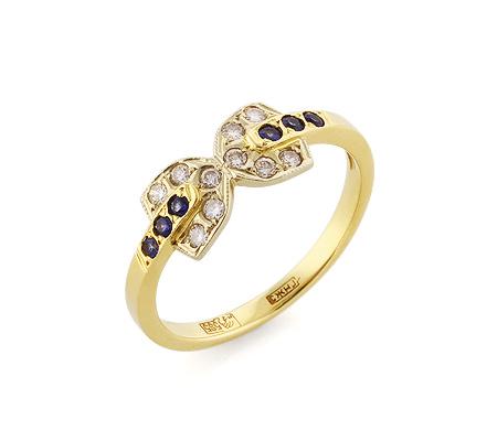 Фото«VL-5407»Кольцо с сапфирами и бриллиантами желтое золото