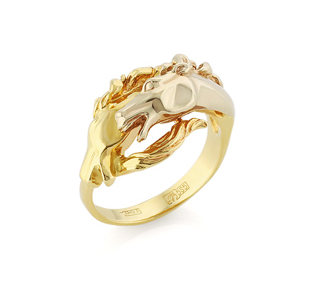 Фото«VL-5422»Золотое кольцо без камней «Две лошади»