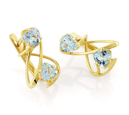 Фото«VL-5434»Оригинальные серьги с голубыми топазами золото