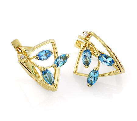 Фото«VL-5452»Золотые серьги с голубыми топазами и бриллиантом