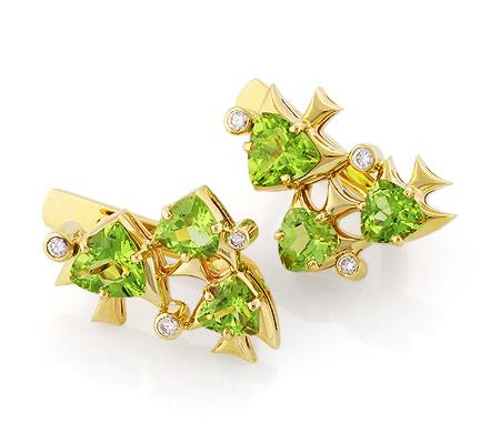Фото«VL-5464»Золотые серьги «Рыбки» с хризолитом и бриллиантами