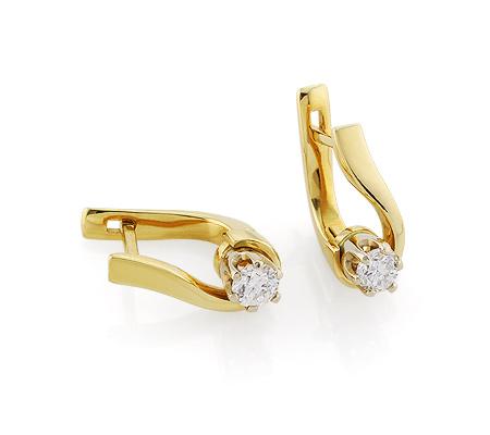 Фото«VL-5620»Золотые серьги с бриллиантом