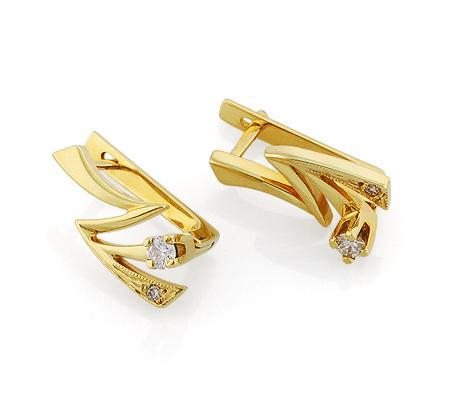 Фото«VL-5623»Золотые серьги «Молния» с бриллиантами