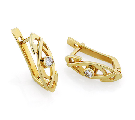 Фото«VL-5627»Золотые серьги с бриллиантом, желтое золото