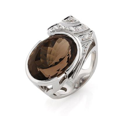 Фото«VL-5719»Золотой перстень с дымчатым кварцем и бриллиантами