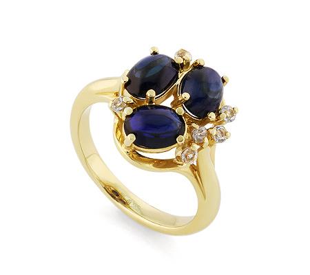 Фото«VL-5746»Золотой перстень с сапфирами кабошон и топазами