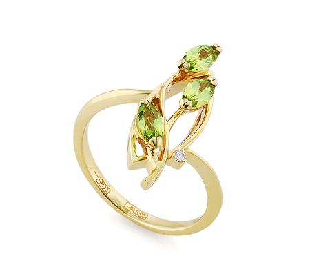 Фото«VL-5789»Золотое кольцо с хризолитом и бриллиантом
