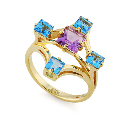 Фото«VL-5790»Золотой перстень с топазами и аметистом