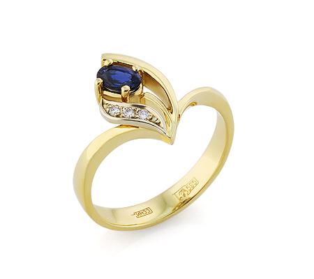 Фото«VL-5793»Золотое кольцо с сапфирами и бриллиантами
