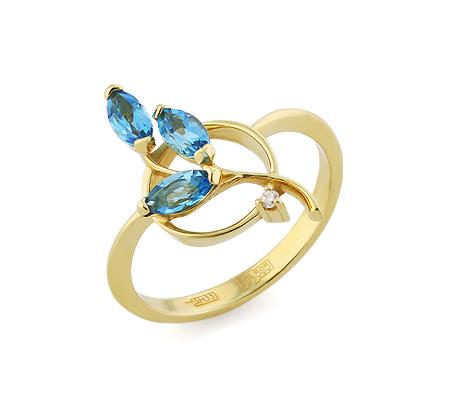 Фото«VL-5802»Золотое кольцо с голубыми топазами и бриллиантом