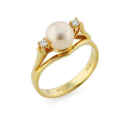 Фото«VL-5803»Золотое кольцо с золотисто-розовым жемчугом