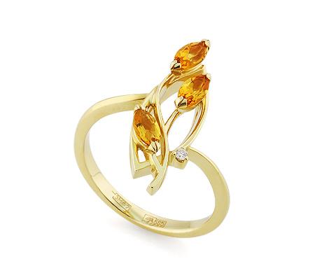 Фото«VL-5811»Золотое кольцо с цитринами и бриллиантом