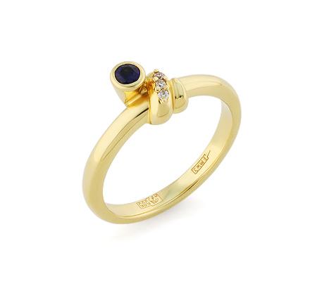 Фото«VL-5814»Золотое кольцо с сапфиром и бриллиантами