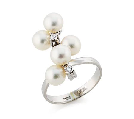 Фото«VL-5853»Золотое кольцо с жемчугом и бриллиантами